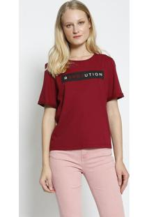 """Camiseta """"Revolution"""" Com Amarraã§Ã£O- Bordã´ & Preta- Sommer"""