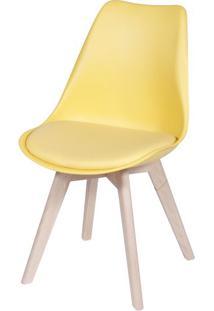 Cadeira Eames Leda 1108 Amarela Base Madeira - 32072 - Sun House