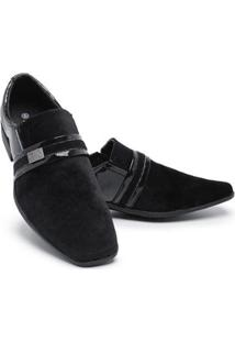 Sapato Social Masculino Veludo Bico Quadrado Confortável - Masculino-Preto