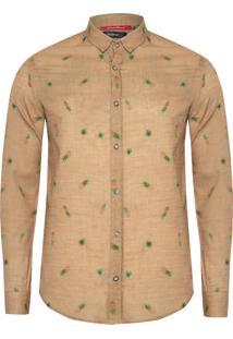 Camisa Masculina Abacaxi - Marrom