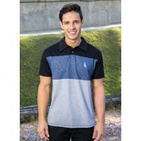Camisa Polo Preta E Mescla Com Recortes Frontais 2343785d52569