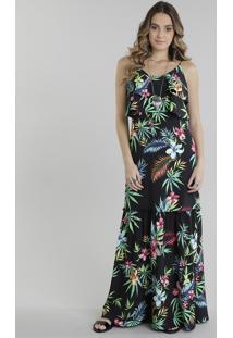 Vestido Longo Estampado Floral Com Babado Preto