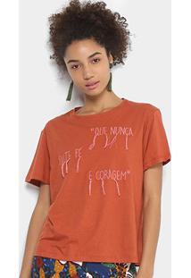 Camiseta Cantão Bordada Feminina - Feminino-Marrom
