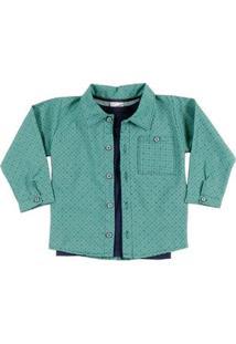 Camisa Manga Longa Para Menino - Verde/Azul