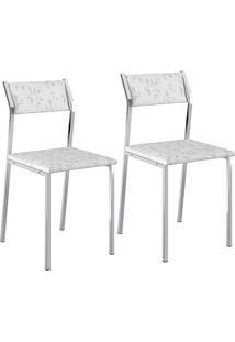 Kit Com 2 Cadeiras Sofia Cromada Tecido Fantasia Branco - Carraro