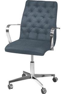 Cadeira De Escritório Diretor Italy Linho Azul Jeans