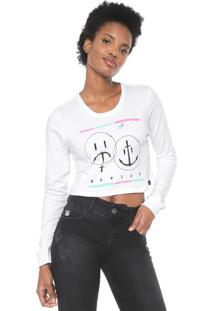 Camiseta Cropped Hurley Laugh Now Shred Later Branca
