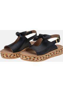 Sandália Plataforma Tamanco Laço Preta - Tricae