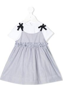 Il Gufo Vestido Salopete Com Sobreposição - Branco