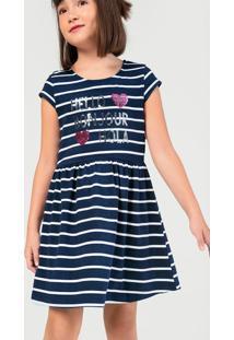 Vestido Infantil Menina Com Estampa Paetê Hering Kids