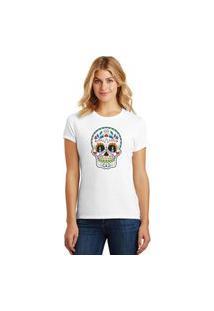 Camiseta Feminina T-Shirt Caveira Mexicana Sugar Skull Calavera