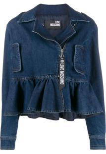 Love Moschino Jaqueta Jeans Com Babados - Azul