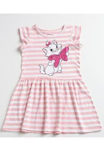 Vestido Infantil Listrada Estampa Marie Manga Curta Disney