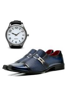 Sapato Social Elegant Com E Sem Verniz Com Relógio New Dubuy 814La Azul