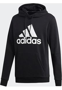 Blusa Moletom Adidas Capuz Masculina - Masculino-Preto+Branco