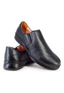 Sapato Conforto Masculino Com Elástico Couro Me500 Preto