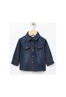 Camisa Infantil Em Jeans - Tam 0 A 18 Meses