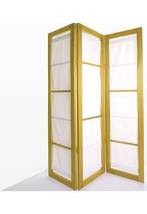 Biombo De Madeira Em Tecido Dominoes Stain Amarelo T01 - 150X3,5X179 Cm