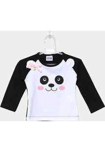 Camiseta Infantil Fakini Ursinha Manga Longa Feminina - Feminino-Branco
