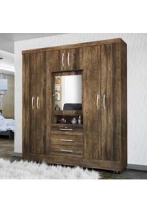 Guarda-Roupa 7 Portas Com Espelho Grafite Canela Rústico - Colibri Móveis