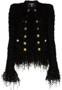 Balmain Jaqueta De Tweed Com Franjas - Preto