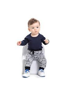 Calça Bebê Masculina Moletom Mescla E Preto Tigre Com Punho (P/M/G) - Pimentinha Kids - Tamanho P - Mescla