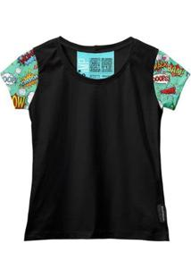 Camiseta Baby Look Feminina Algodão Estampa Gibi Estilo Moda - Feminino-Preto