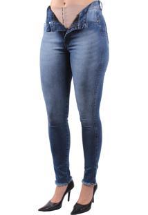 Calça Jeans Dioxes Com Cinta Modeladora Azul