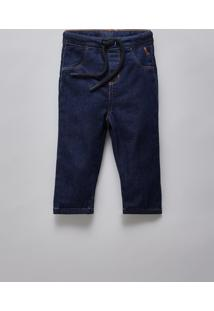 Calca Bb Jeans Bolso Basico Reserva Mini Azul Marinho - Kanui