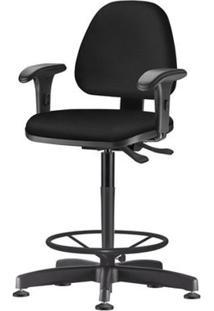 Cadeira Sky Com Bracos Curvados Assento Courino Base Caixa Fixa Metalica Preta - 54821 Sun House