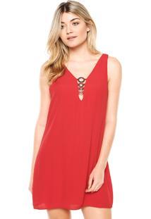 Vestido Colcci Curto Argola Vermelho