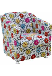 Poltrona Decorativa Lyam Decor Laura Floral Cinza