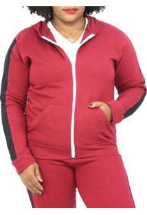 Jaqueta Sangos Moletom Plus Size Flanelada Feminina - Unissex-Vermelho