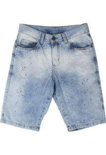 Bermuda Jeans Besni Respingos Masculina - Masculino-Azul+Off White