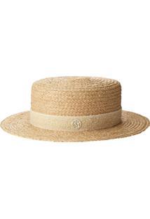 Maison Michel Woven Style Logo Plaque Hat - Neutro