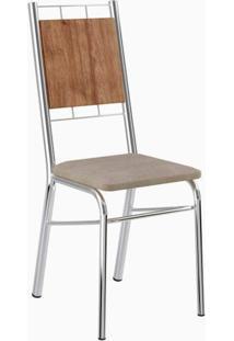 Cadeira 1723 2 Peças - Cromado Com Camurça Conhaque