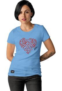 Camiseta Feminina Cellos Heart Premium Azul Claro - Kanui