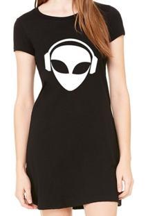 Vestido Criativa Urbana Estampado Divertido Alien Dj - Feminino-Preto