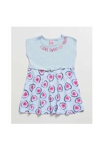 Vestido Infantil Coração Manga Curta Tam 1 Ao 3