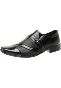 Sapato Social Masculino Verniz Elástico Bico Fino - Masculino-Preto