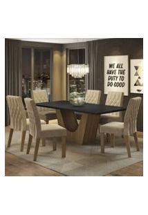 Conjunto Sala De Jantar Madesa Eduarda Mesa Tampo De Madeira Com 6 Cadeiras Rustic/Preto/Imperial