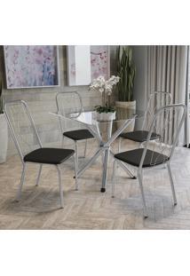 Conjunto Mesa De Vidro 4 Cadeiras Crome Cmc335Cr-110 Preto