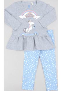Conjunto Infantil De Blusa Com Babado Manga Longa Cinza Mescla + Calça Legging Estampada De Estrelas Azul