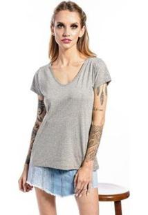 Camiseta Manga Curta Basic Feminina - Feminino-Cinza