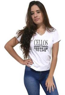 Camiseta Gola V Cellos Dress Up Premium Feminina - Feminino