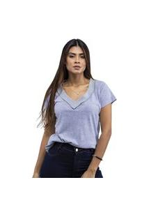 T-Shirt Feminina Cinza Gola V