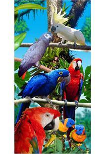 Toalha De Praia Forest Birds- Azul & Verde- 76X152Cmbuettner