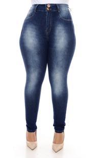 Calça Xtra Charmy Jeans Plus Size Com Cinta Modeladora Michele Azul