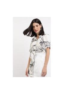 Camisa Feminina Ampla Estampada De Folhagens Manga CurtaBranca