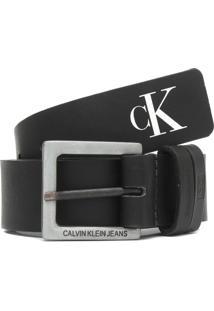 Cinto Couro Calvin Klein Jeans Monograma Preto